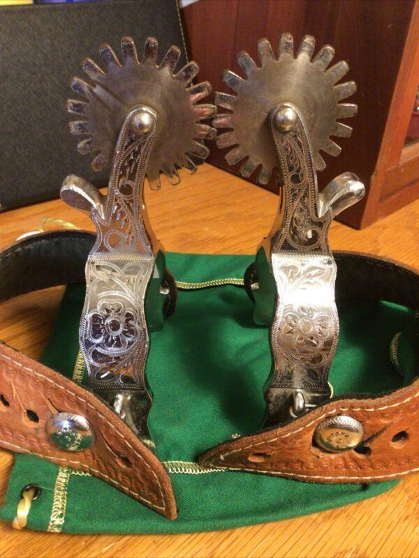 Vintage Giant Engraved Crockett Renalde Western Cowboy Spurs