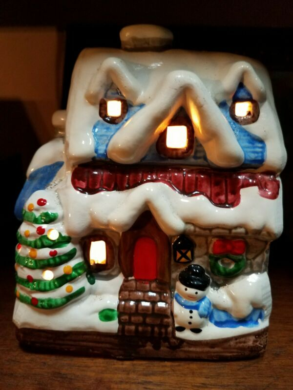 Vintage Ceramic Light Up Snow Covered Christmas House Cottage