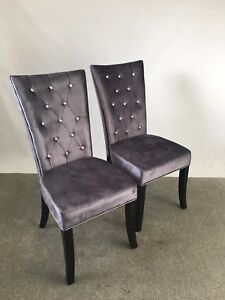 two comfy silver grey velvet upholstered dining room chair chairs seat pair