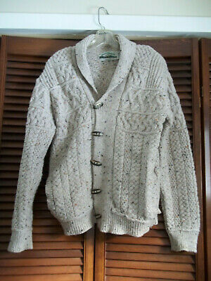 ARAN CRAFTS 🎀 FISHERMAN KNIT 100% MERINO WOOL MADE IN IRELAND SWEATER 🎀  SMALL