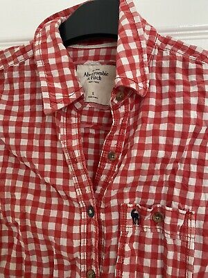 Abercrombie & Fitch Womens Red Check Cotton Long Sleeve Shirt Size S