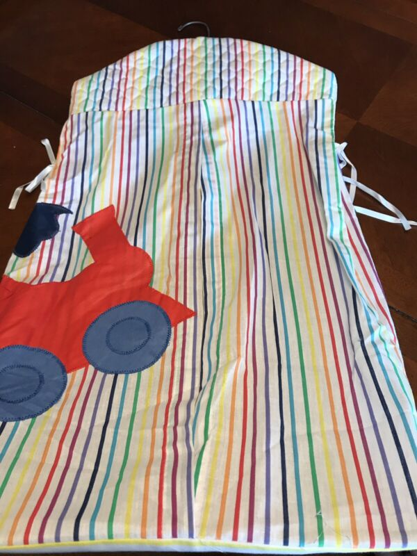Vintage Glenna Jean Hanging Nursery Diaper Stacker Holder Rainbow Stripe W Train