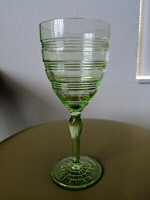 - Depression Glass Anchor Hocking Banded Rings Green Footed Water Goblet
