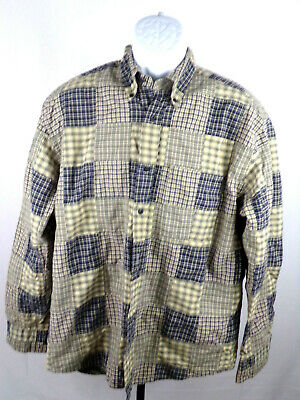 Nautica Mens Large Multicolor Patchwork Long Sleeve Button Down Casual Shirt A15
