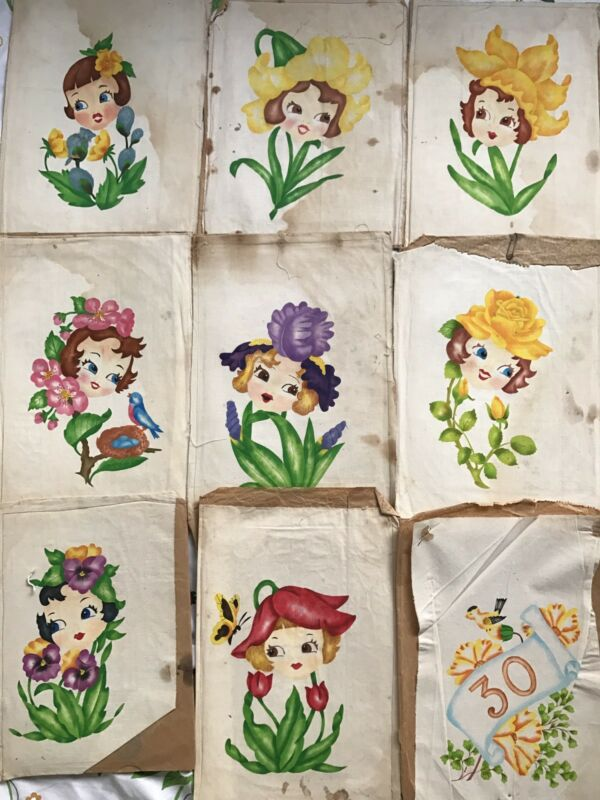 Rare 9 Vintage Detailed Layering Fabric / Decal / Wall Stencils Amazing Find