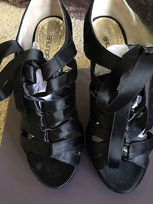 Italian Lace Shoes - BRUNO FRISONI ITALIAN SHOES 38 Black Satin Lace Up