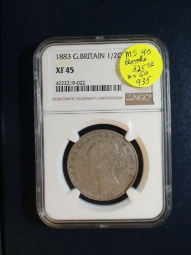 1883 Great Britain HALF CROWN NGC XF45 SILVER 1/2C Coin PRICED TO SELL QUICKLY!!