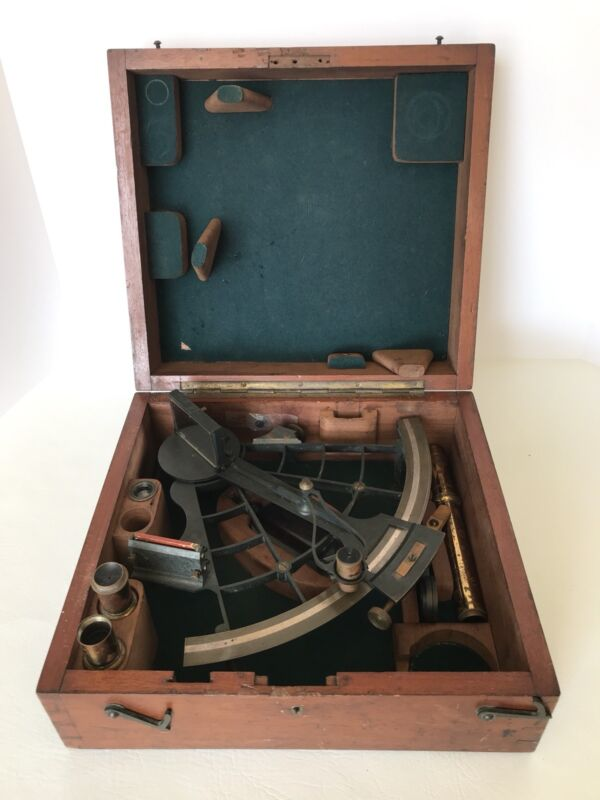 Antique Maritime Ships Sextant Lilley & Son London UK Brass In Wood Box Nautical