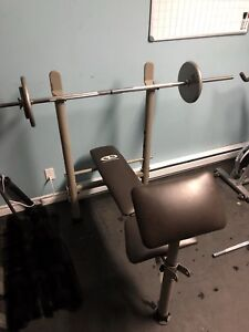 Cast Iron Weight set and Bench