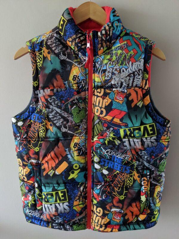 Nike SB Boys Youth Medium Skate Board reversible Fleece Vest Graphic Print Gray