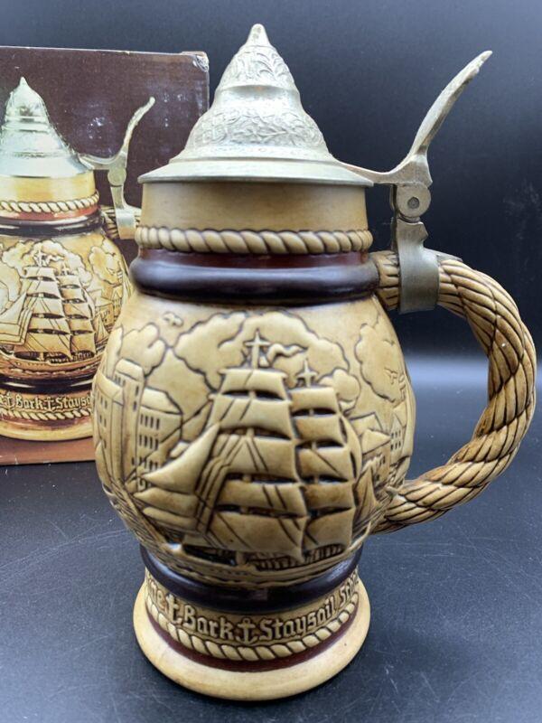 1977 AVON Schooner Brigantine Barkentine Beer Stein from Brazil