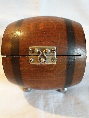Antique Vintage Art Deco Oak Wood Treen Tea Caddy Tobacco Barrel Unusual