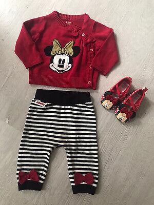 Mickey Minnie Mouse Set KOMBI Pullover Hose Schuhe Gr 68 Neu