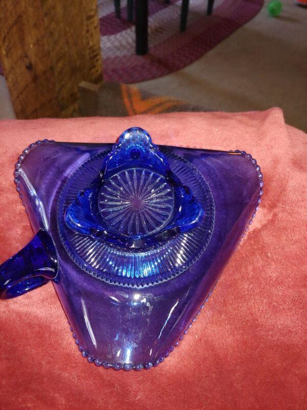 Vintage Cobalt blue depression glass