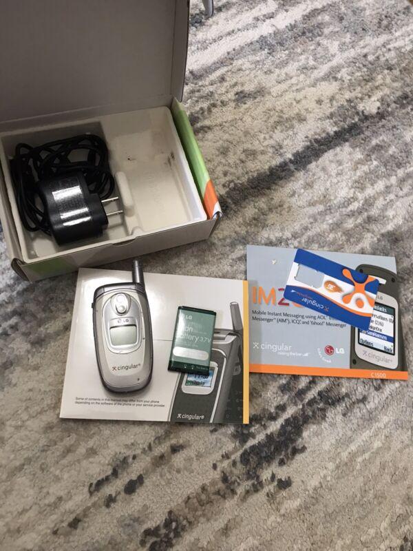 LG C1500 Cingular Flip Cell Phone Gray Original Battery with box and manual