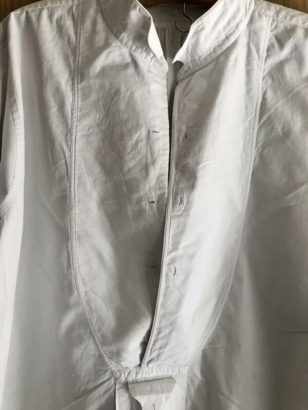 Antique French COTTON POPELIN man shirt SMOCK c 1900