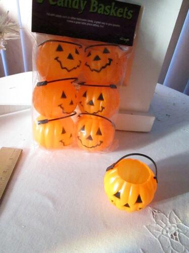 Pkg of 6 Orange Halloween Jack O Lateran Pumpkin Candy Baskets, New