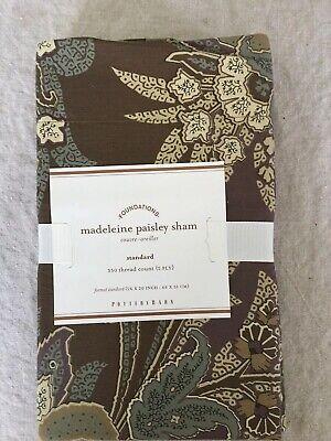 Set/2 Pottery Barn Madeleine Paisley Standard Shams In Plum Beautiful!!
