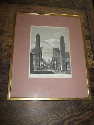 19TH CENTURY ENGRAVING THE GRAND ENTRANCE OF ANCIENT THEBES FRAMED