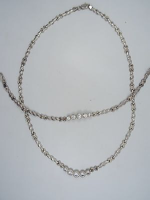 HEAVY HIGH FASHION 80's ITALIAN STERLING & CZ BRACELET & NECKLACE SET