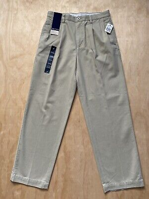 NAUTICA RIGGER KHAKI PLEATED PANTS CLASSIC FIT SIZE 32x30 NWT B6