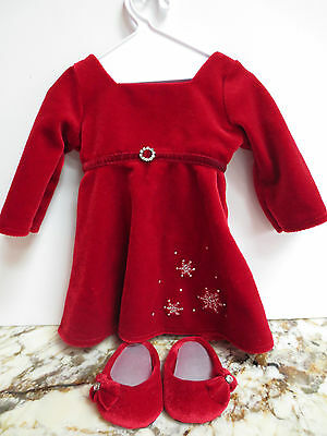 American Girl Doll Red Holiday Velvet Dress and Shoes