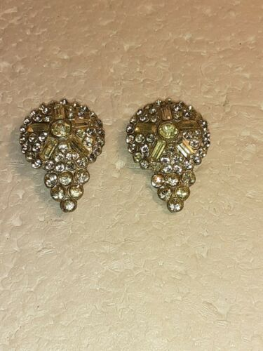 PAIR OF VINTAGE RHINESTONE DECO DRESS FUR CLIPS