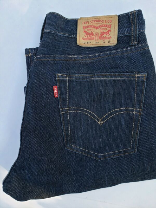 Mens Levis 514 Straight Fit Blue Jeans Size 18 Reg 29x29 Cotton Blend
