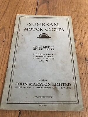 Sunbeam  Motorcycle 1931 spare Parts List Lion 8 Single Port Two Port 10 90