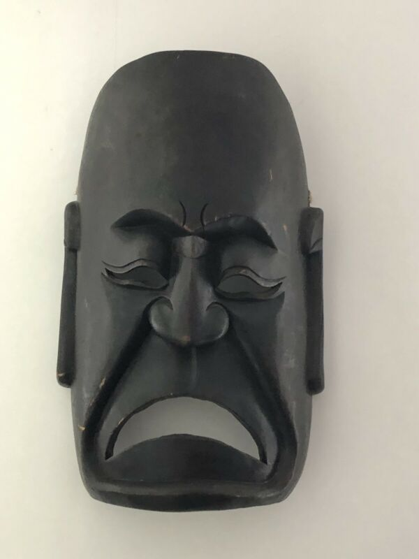 Large Chinese SAD Buddah Mask Black Hard Dark Wood Monk Face