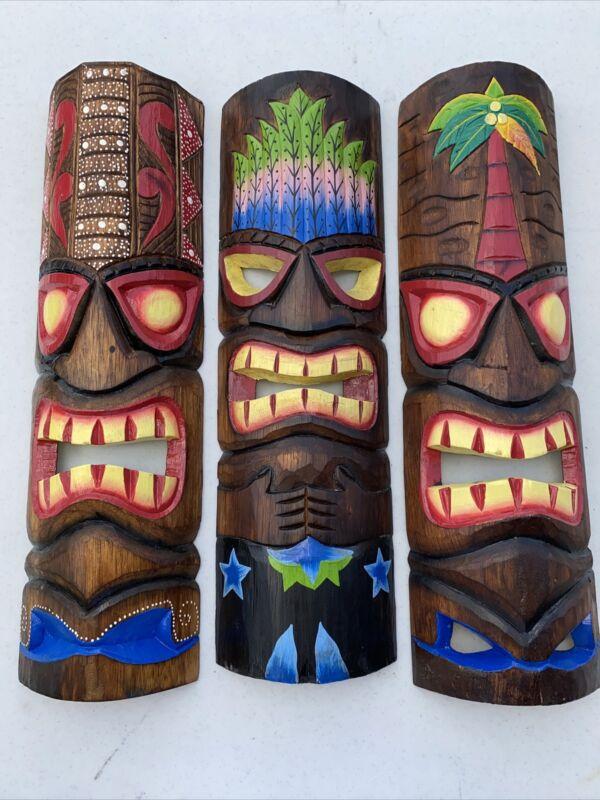 "SET OF 3 20"" TIKI MASK HAWAIIAN WALL ART ISLAND HOME DECOR TRIBAL BAR TROPICAL"