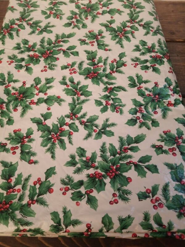 Vintage Christmas Vinyl Flannel Back Tablecloth 68 x 50 Rectangle  Holly Leaves