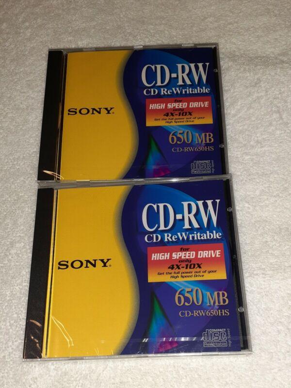 2 Sony CD-RW 650 MB ReWritable Disc High Speed 4x-10x New Sealed CD-RW650HS