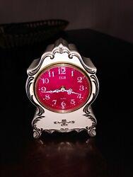 Elegant White, Red With Silver/Gold Trim ELGIN Alarm Clock, Vintage Estate Item