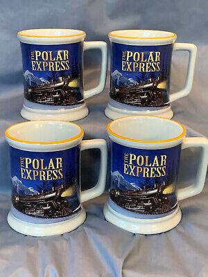 Set Of 4 Polar Express Believe 3D Train Embossed Mugs