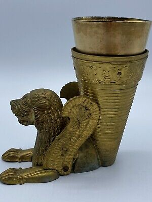 Brass Persian Lion Rhyton Achaemenid Replica Vintage Souvenir Mythical Beasts