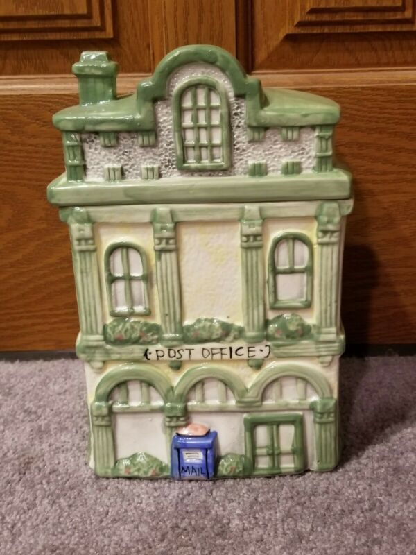 Collectible Large Heavy Ceramic Victorian POST OFFICE Country Cottage Cookie Jar
