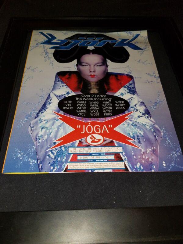 Bjork Joga Rare Original Radio Promo Poster Ad Framed!
