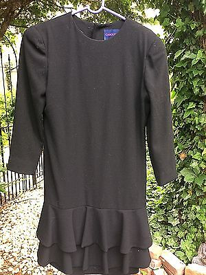 Carolyne Roehm Dress Saks Fifth Avenue Black Garbardine Wool Rhinestone Buttons