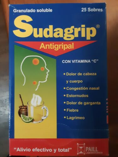 Sudagrip Tea 25 POWDER POUCHES PAIN AND FEVER , cold, cough,  flu
