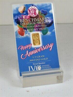 1/3 GRAM GOLD ANNIVERSARY BAR OF 24K PURE .999 FINE BULLION BSMGOLDBARS - $44.99