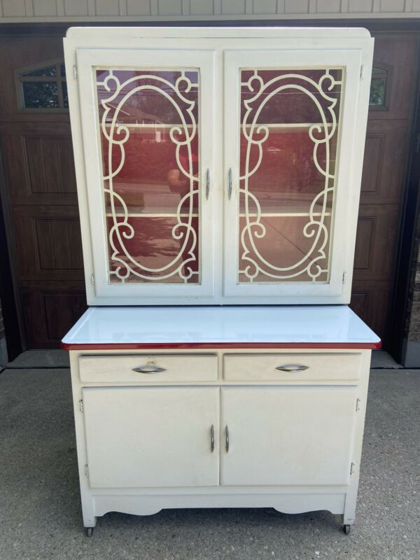 Vintage Hoosier  Style White And Red Cabinet With Porcelain Top