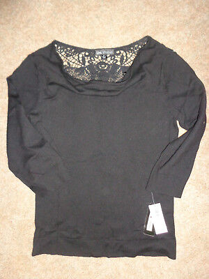women's lightweight I.N. Studio  black sweater lacy detail on back NWT size M