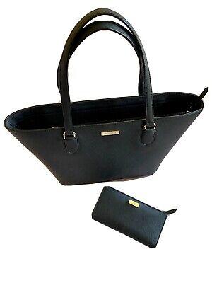Kate Spade Laurel Way Black Tote Saffiano Leather Shoulder Bag & Marching Purse