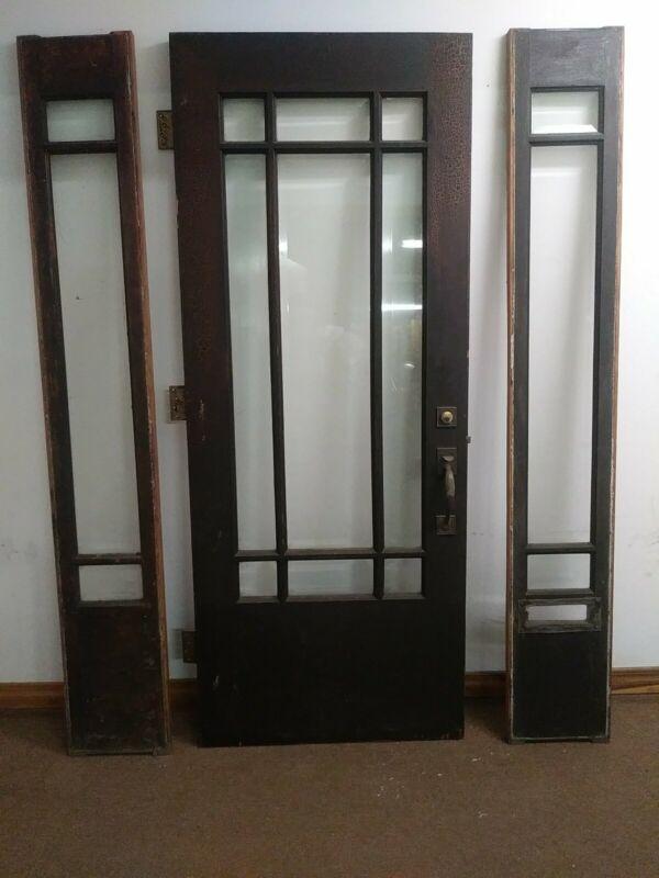 """Vintage Wood 9-lite Beveled Glass 32"""" Entrance Door w/Sidelights - Victorian"""