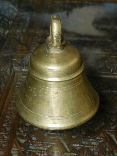 Thai Buddhist worship Old Brass Temple Bell with engraved script