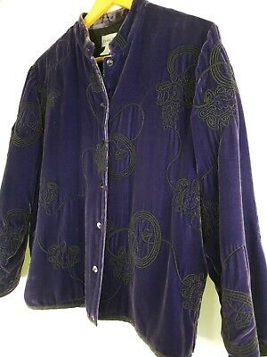 Chico's Purple Velvet Embroidered Mandarin Collar Zen Jacket Size 1