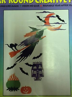 Halloween Fall Decoration Window Clings Bewitching Hour 19 inch Witch 38+ pcs](Halloween Vinyl Clings)
