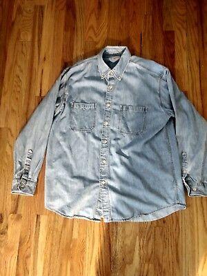 Izod Denim Button long sleeve Shirt Buttons Size large Izod-denim