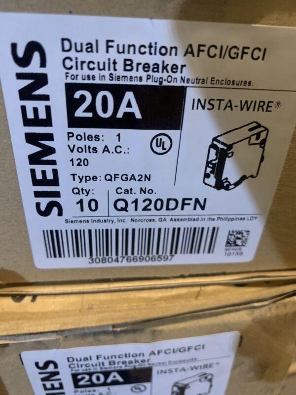 (Siemans Q120DFN 20 amp Dual Function AFCI/GFCI Circuit Breakers  Box Of 10.